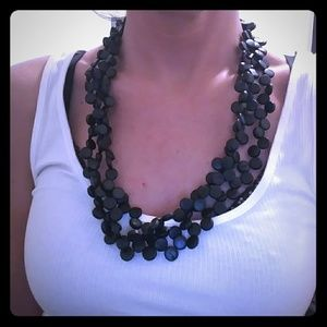 NWOT Triple Strand Black Beaded Necklace